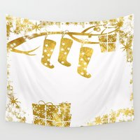 socks Wall Tapestries featuring Gold Christmas 02 by Aloke Design
