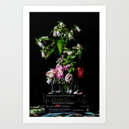 Still Life with Books and Flowers Art Print