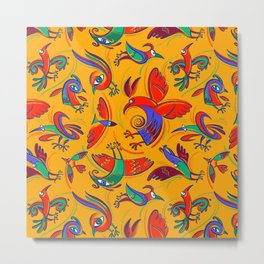 Pattern with Firebirds (on yellow background) Metal Print