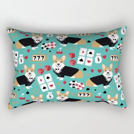 Corgi blackjack poker night dog breed pet art tuxedo red welsh corgi Rectangular Pillow