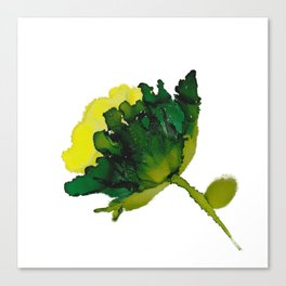 Alcohol Ink - Green Floral Canvas Print