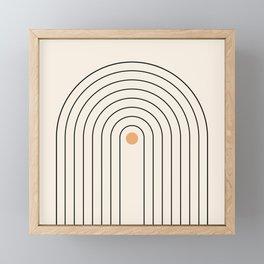 Mid Century Modern Geometric 37 ( Rainbow and Sun Abstraction) Framed Mini Art Print