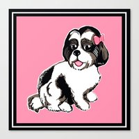 shih tzu Canvas Prints featuring Shih Tzu Puppy  by Artist Abigail