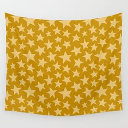 Mustard Doodle Stars Wall Tapestry