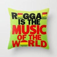 reggae Throw Pillows featuring Reggae Music by Ahfimi Brands