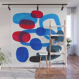 Abstract Minimalist Mid Century Modern Colorful Pop Art Retro Funky Shapes Blue Turquoise Wall Mural