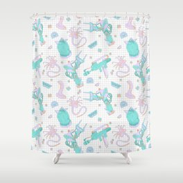 Pastel Scifi Alien Repeating Pattern Shower Curtain