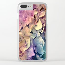 Soft Multi Color Hydrangea Clear iPhone Case