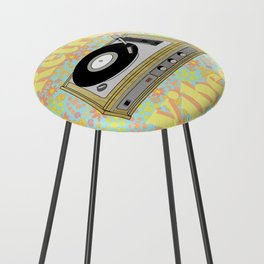 Retro Vibes Record Player Design in Yellow Counter Stool