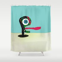 tape Shower Curtains featuring Screaming Tape Head by Take F1ve