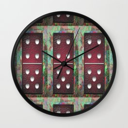 Red Dominoes 1 Wall Clock
