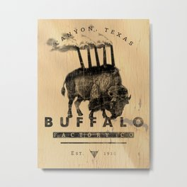 BUFFALO FACTORY Buffalo with smokestacks Metal Print