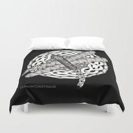 Zentangle Dragonfly Black and White Illustration Duvet Cover
