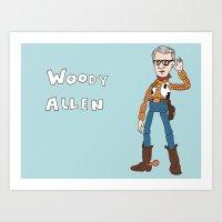 woody allen Art Prints featuring Woody Allen by Jessica Mae