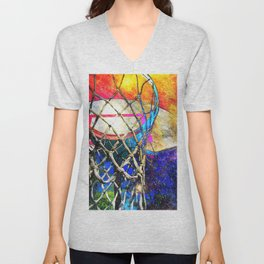 Colorful Basketball Art Unisex V-Neck