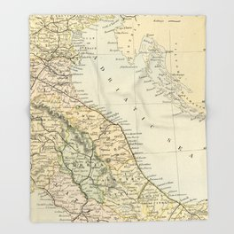 Retro & Vintage Map of Northern Italy Throw Blanket