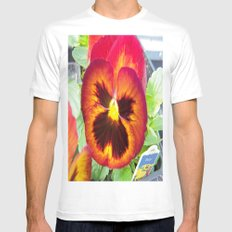 Pretty Pansy White Mens Fitted Tee MEDIUM