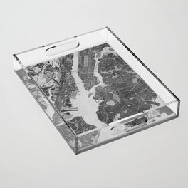 Vintage map of New York City in gray Acrylic Tray