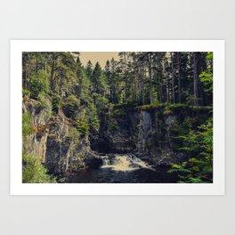 Waterfall, Scotland, woods, forest, landscape photography, wall art, Art Print