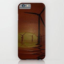 Windmills at Sunset (Digital Art) iPhone Case