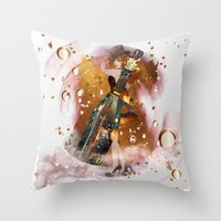 champagne Throw Pillows featuring champagne by Nathalie56