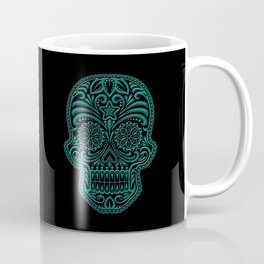 Intricate Teal Blue and Black Day of the Dead Sugar Skull Coffee Mug
