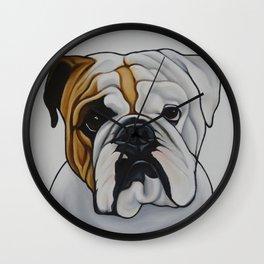 English Bulldog Pet Portrait Painting  Wall Clock