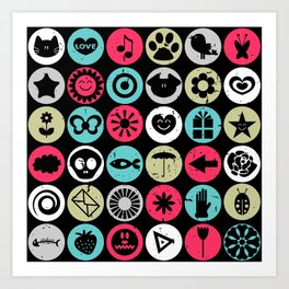 Colorful pattern with various elements Art Print