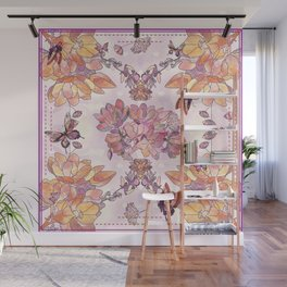 Honeysuckle Watercolor Illustration Wall Mural