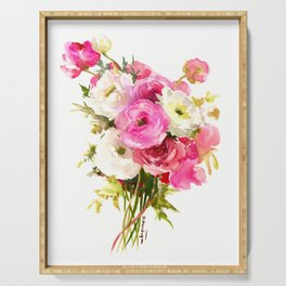 Pink Floral Love, Buttercups, garden flowers, floral artwork Serving Tray