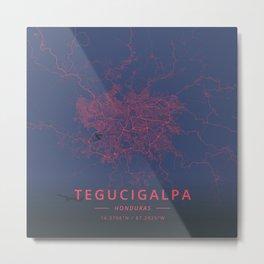 Tegucigalpa, Honduras - Neon Metal Print