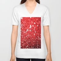 glitter V-neck T-shirts featuring Glitter Red by Brian Raggatt