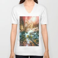 sun V-neck T-shirts featuring California Redwoods Sun-rays and Sky by Elena Kulikova