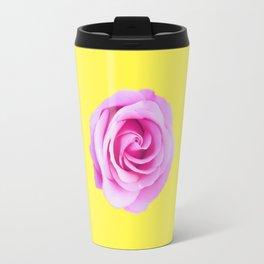 pink rose with yellow background Travel Mug