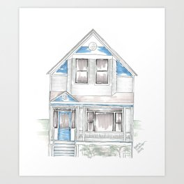 Blue Folk Victorian House Art Print