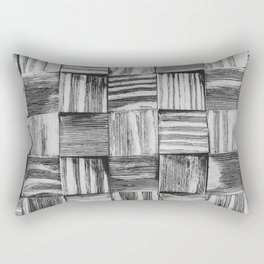 Vintage Wood Block // Black and White Wooden Texture Wall Background Accent Decoration Rectangular Pillow
