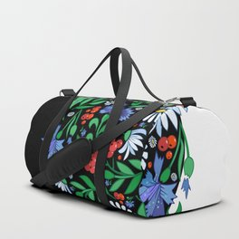 Female head with abstract flowers Duffle Bag