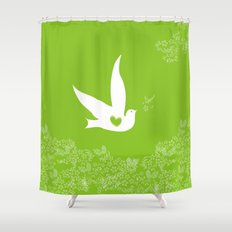 Love and Freedom - Green Shower Curtain