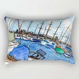 Boats at the Marina Rectangular Pillow