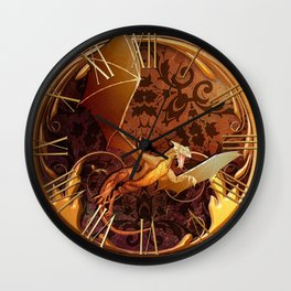 Gold Dragon Emblem on Faux Leather Wall Clock