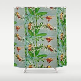 Vintage illustration bees Shower Curtain