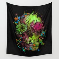 fireflies Wall Tapestries featuring DEATH DREAM OF A FIREFLIES by Laurence Minoza