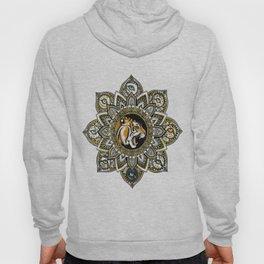 Black and Gold Roaring Tiger Mandala With 8 Cat Eyes Hoody
