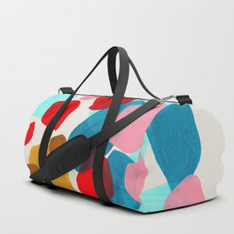 Fun Colorful Bright Abstract Shapes Mid Century Modern Patterns Blue Teal Red Pink Yellow Ochre Duffle Bag