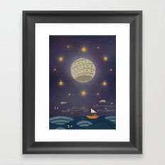 Sailing under the moon Framed Art Print