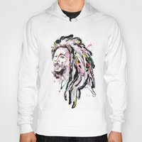marley Hoodies featuring B Marley Portrait  by Alina N