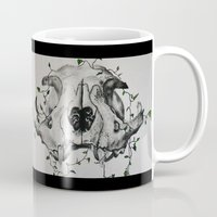 animal skull Mugs featuring Animal Skull With Vines by Emilee's Fine Art