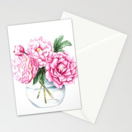 Pink Peony Painting, Watercolor Peony Art, Pink Flower Bouquet Stationery Cards