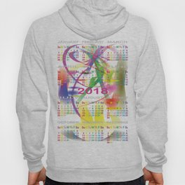 CALENDAR 2018 color days on MORNING DREAM illustration Hoody