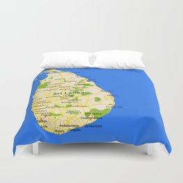 Sri Lanka Map Design Duvet Cover